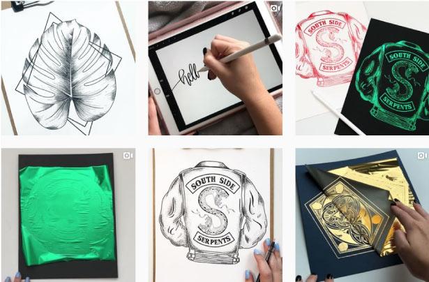 עמוד האינסטגרם של ג׳סיקה, cooper calligraphy // צילום מסך